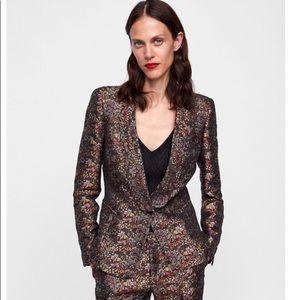 Zara Floral Jacquard Jacket. Size L.
